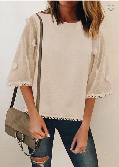Cream Swiss Dot Shirt