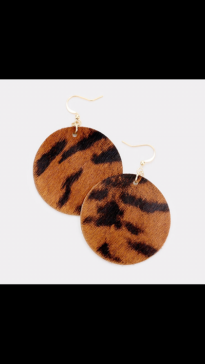Faux Suede Dangle - Brown Animal