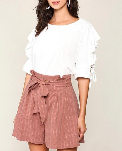 Stripe Paper Bag Shorts - Marsala