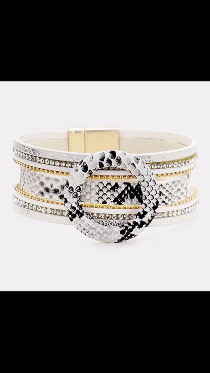 Circle Layered Magnetic Cuff - White