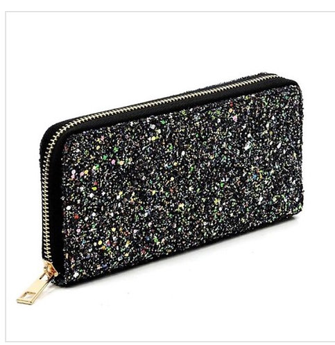 Metallic Glitter Wallet - AB Black