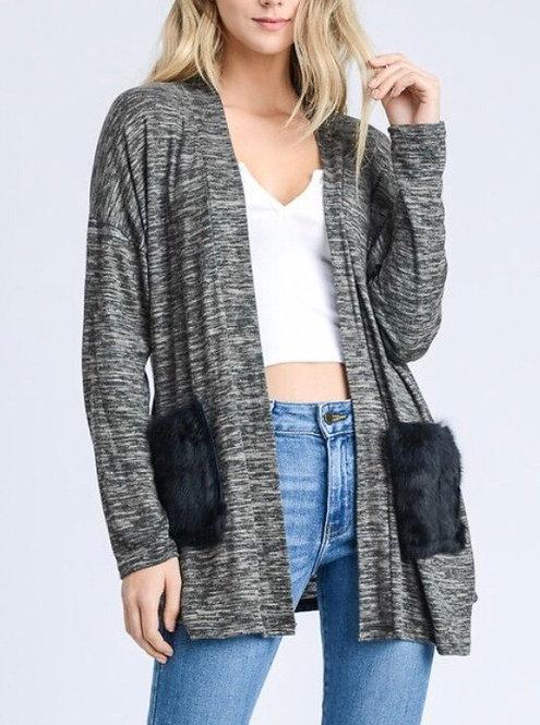 Brushed Knit Fur Pocket Cardigan - Gray