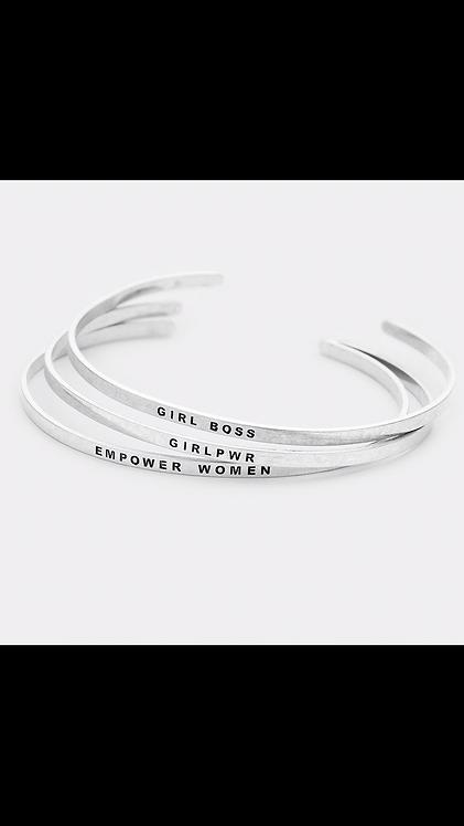 Power Bangle Set - Silver