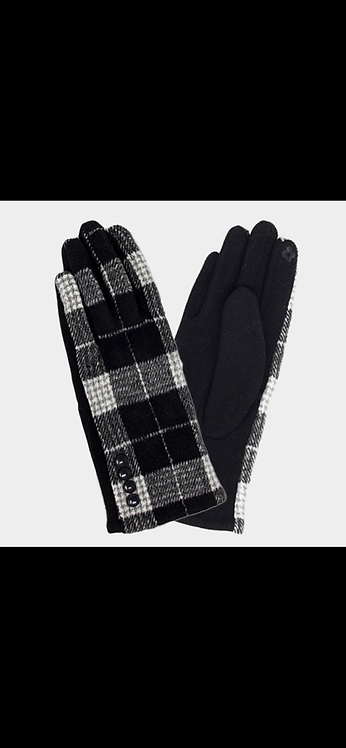 Plaid Button Glove - Black