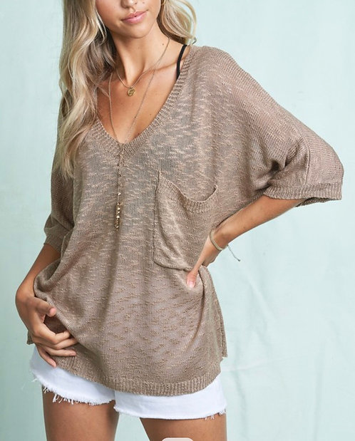 Pocket Short Sleeve Light Sweater