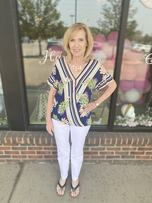 Navy Tropical Blouse