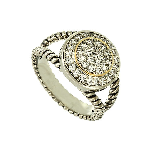 Metal Rhinestone Pave Rope Ring