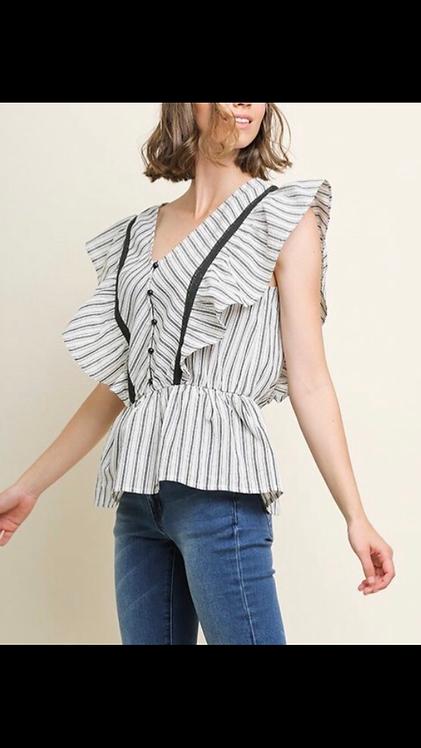 Button Stripe Sleeveless