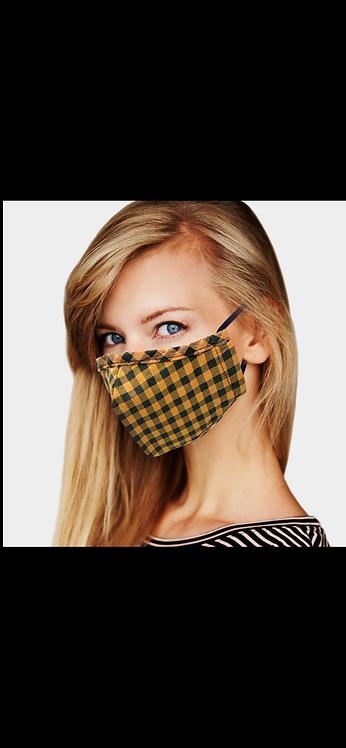 Plaid Adjustable Mask - Mustard