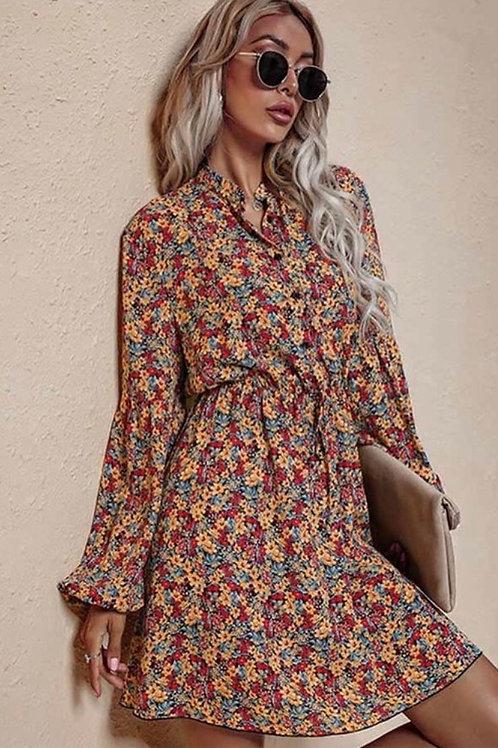 Fall Floral Pattern Dress