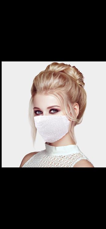 Sequin Adjustable Mask - White