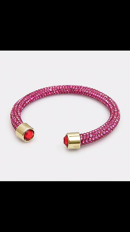 Sparkle Bling Open Bracelet - Fuchsia