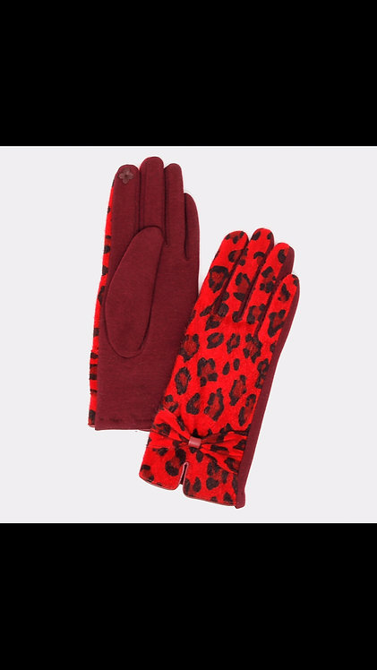 Leopard Bow Gloves - Red