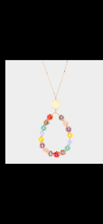 Flower Long Necklace - Multi