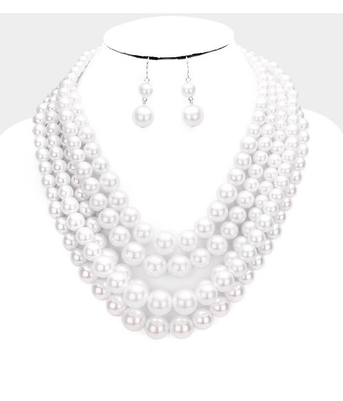 White Layered Faux Pearls
