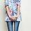 Thumbnail: Blue Floral Cold Shoulder Knit