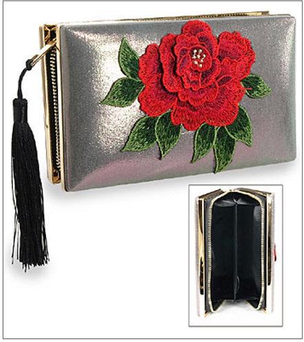 Rose Metal Clutch - Pewter
