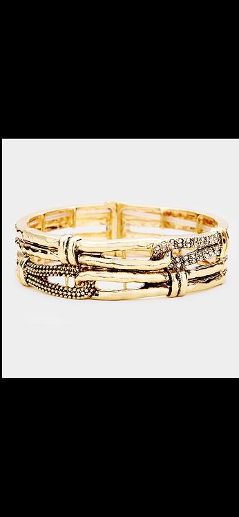 Metal Pave Stretch Bracelet - Gold