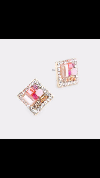 Square Gem Small Stud - Pink