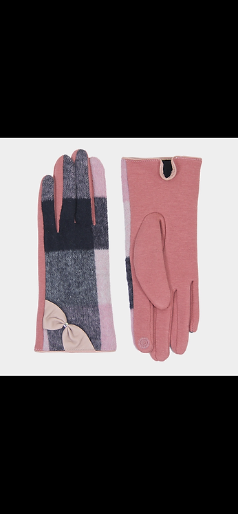 Bow Plaid Gloves - Pink