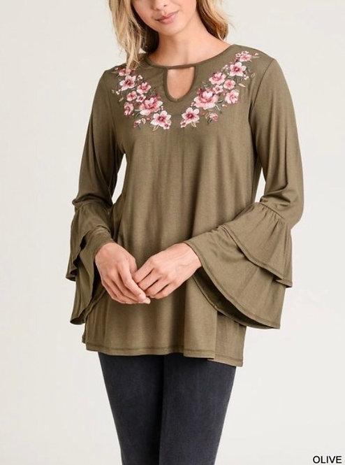 Olive Floral Bell Sleeve