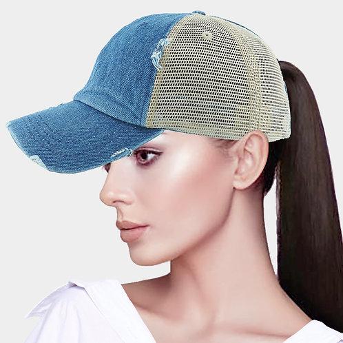 Ponytail Baseball Hat - Denim