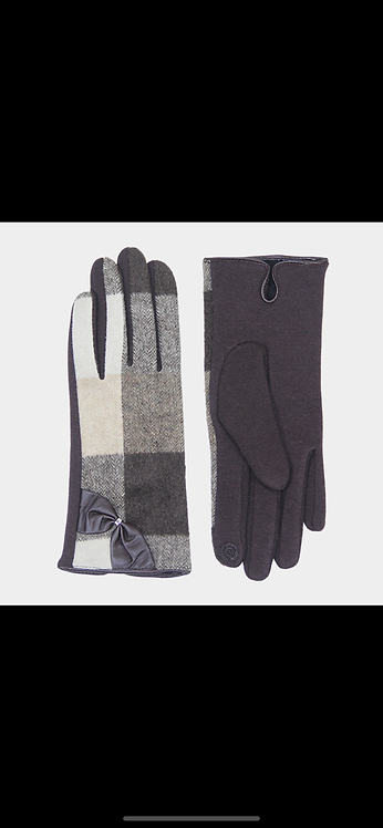 Bow Plaid Gloves - Gray