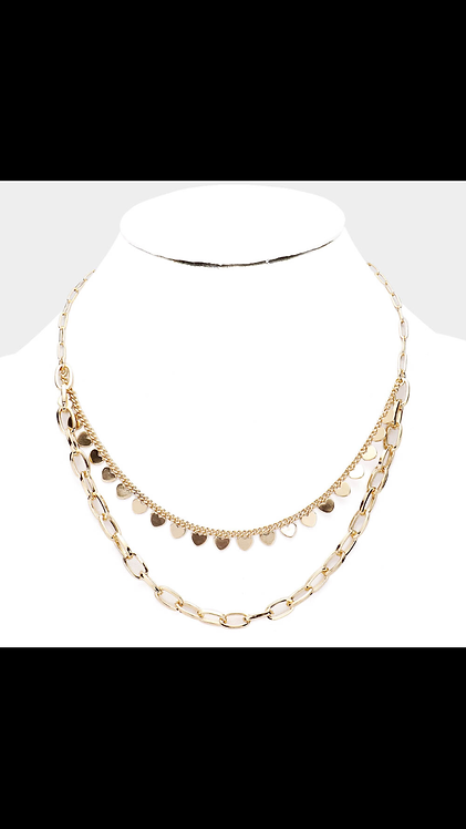 Heart Layered Necklace - Gold