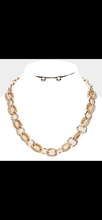 Metal Link Necklace - Gold