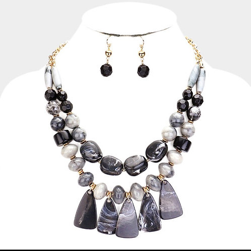 Layered Stone Statement Necklace