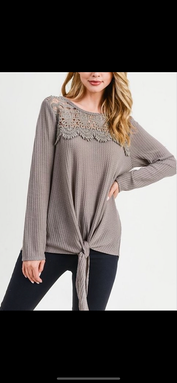 Taupe Front Tie Waffle Long Sleeve