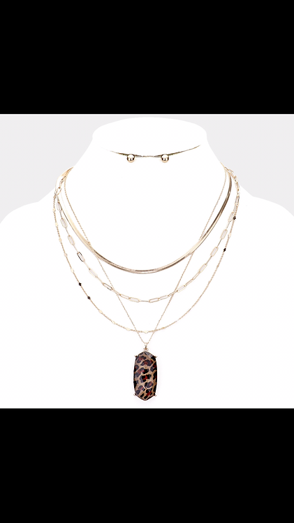 Leopard Layered Pendant Necklace - Gold