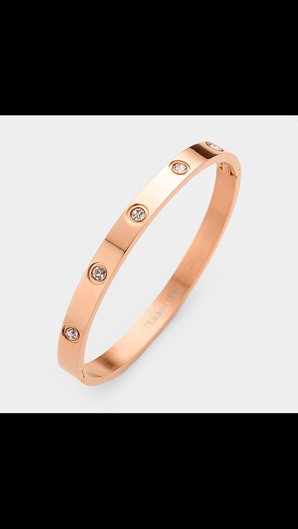 Bling Metal Bangle - Rose Gold