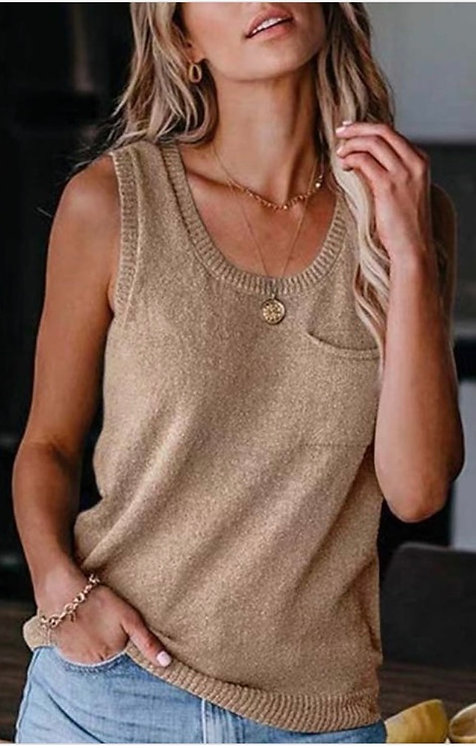 Button Back Sweater Tank - Camel