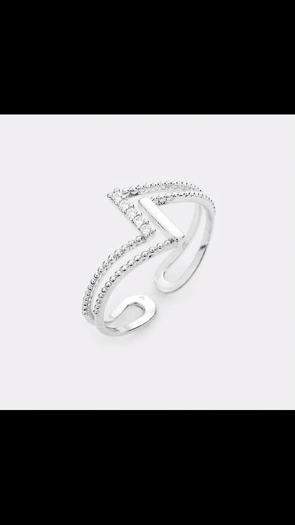 Metal Design Delicate Ring - Silver