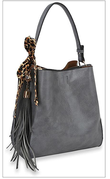 Leopard Sash Handbag - Gray
