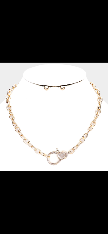 Pave Chain Bling Necklace - Gold
