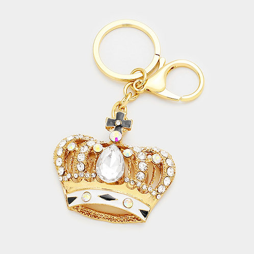 Rhinestone Gold Crown Key Chain