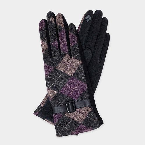 Purple Plaid Buckle Glove