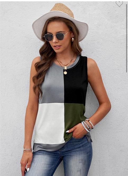 Olive Colorblock Sleeveless