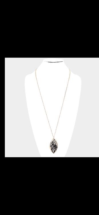 Animal Print Long Necklace - Zebra