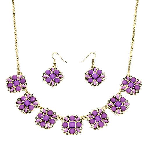 Flower Necklace - Purple