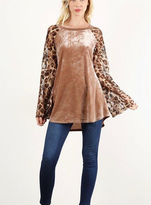 Leopard Velvet Lace Long Sleeve