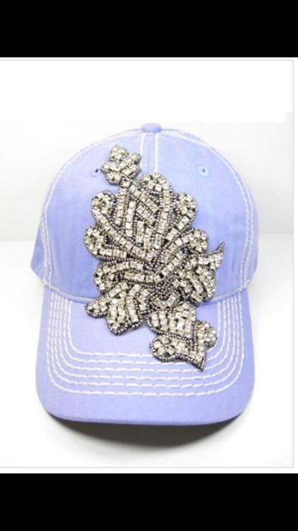 Rhinestone Emblem Baseball Hat - Lavendar
