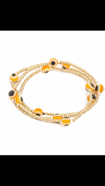 Evil Eye Bracelet Set - Gold