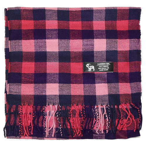 Cashmere Plaid Winter Scarf - Pink