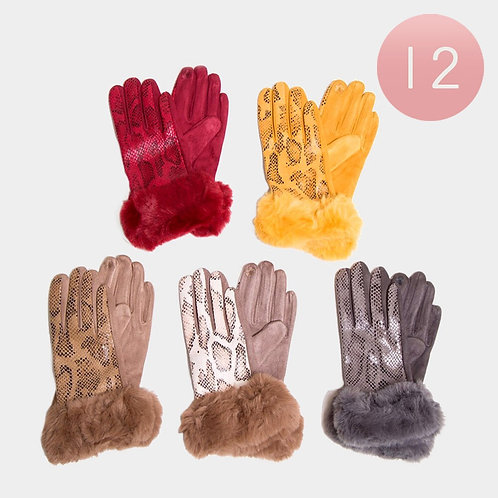 Snake Fur Gloves - Assorted