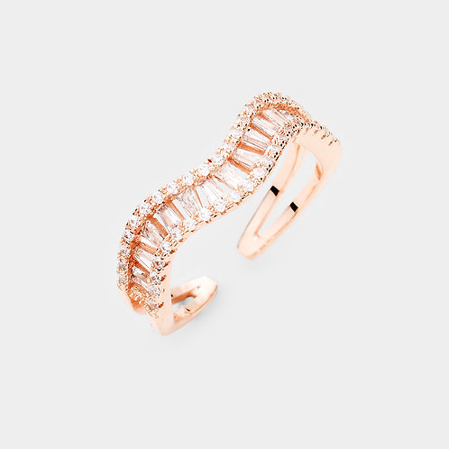Swirl CZ Ring - Rose Gold