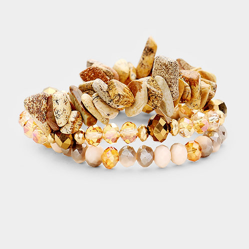 Natural Stone Bracelet Set - Brown