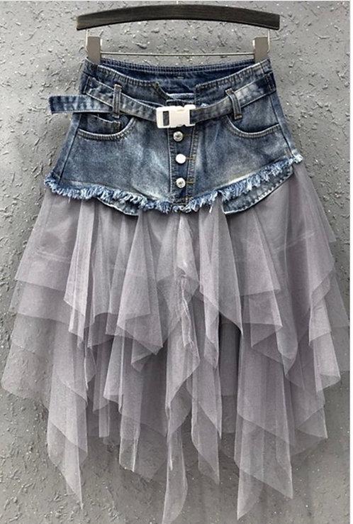Denim Tulle Skirt